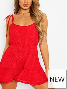 boohoo-tie-strap-dobby-mesh-flippy-playsuit-red