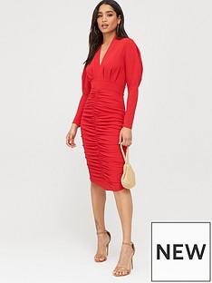 boohoo-boohoo-puff-sleeve-ruched-skirt-midi-dress-red