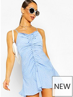 boohoo-boohoo-ruched-polka-dot-slip-dress-blue-white