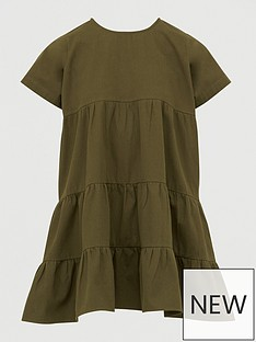 boohoo-denim-tiered-smock-dress-khaki