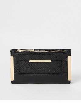 river-island-embossed-mini-metal-corner-pouch-purse-black