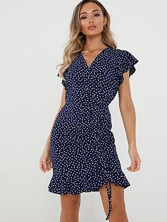 quiz-spot-wrap-front-dress-navy