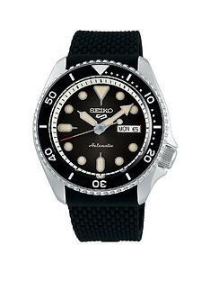 seiko-5-silicone-strap-black-dial-watch