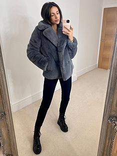 michelle-keegan-double-breasted-faux-fur-coat-grey