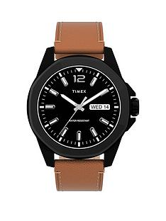 timex-timex-essex-avenue-44mm-silver-tone-case-blue-dial-brown-leather-strap-watch