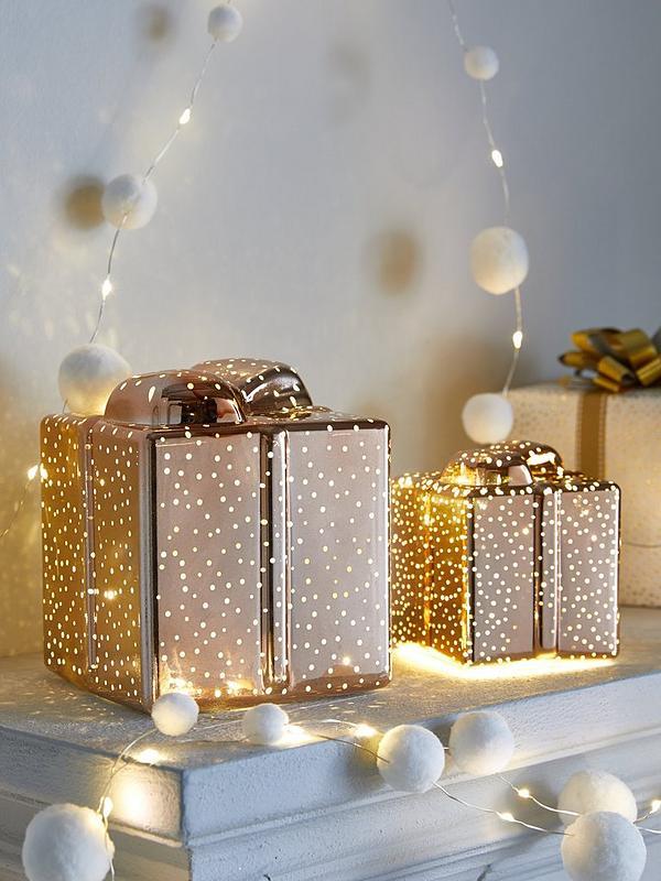 Festive Set Of 2 Parcel Light Up Christmas Decorations Rose Gold Very Co Uk