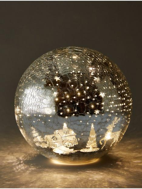 festive-20cm-battery-operated-lit-crackle-effect-reindeer-ball-christmas-decoration