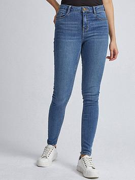 dorothy perkins shape and lift skinny jeans - blue, blue, size 8, inside leg short, women
