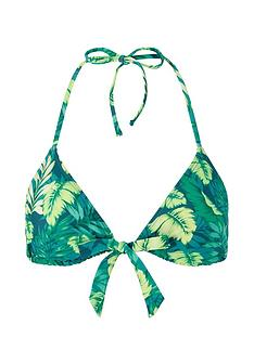 accessorize-leaf-print-tie-front-triangle-bikini-top-green