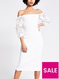 river-island-organza-puff-sleeve-knitted-dress-white