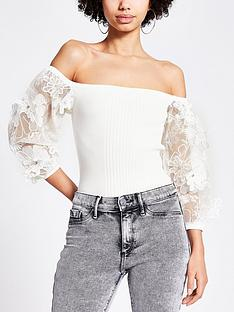 river-island-organza-puff-sleeve-knitted-bardot-top-white