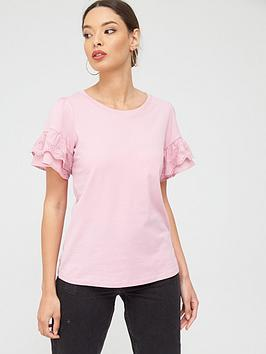 river-island-river-island-flute-sleeve-jersey-top-pink