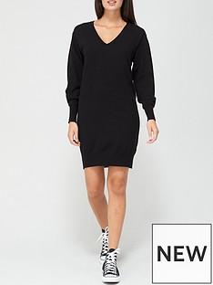 v-by-very-v-neck-knitted-dress-black