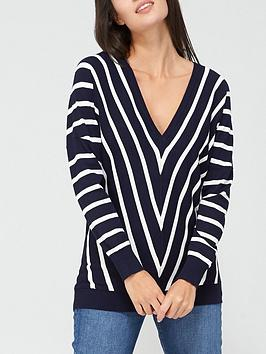 v-by-very-v-neck-slouchy-fine-knit-top-navy-stripe