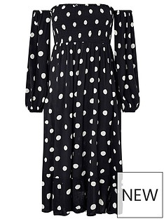 accessorize-puff-sleeve-midi-spot-print-dress-black