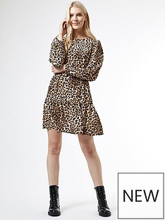 dorothy-perkins-puff-sleeve-fit-and-flare-dress-animal-print