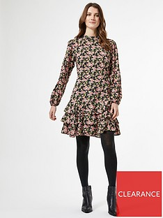 dorothy-perkins-dorothy-perkins-floral-ruffle-skirt-fit-and-flare-dress