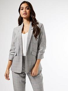 dorothy-perkins-dorothy-perkins-petite-prince-of-wales-check-ruched-sleeve-e2e-jacket-bluenbsp