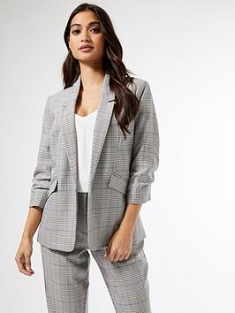 dorothy-perkins-petite-prince-of-wales-check-ruched-sleevenbspjacket-grey