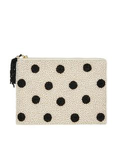 accessorize-polka-dot-embellished-pouch-blackwhite
