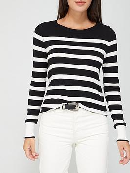 v-by-very-stripe-curved-hem-jumper-blackwhite