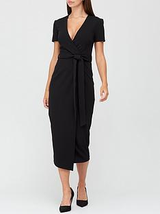 v-by-very-wrap-tie-midi-dress-black