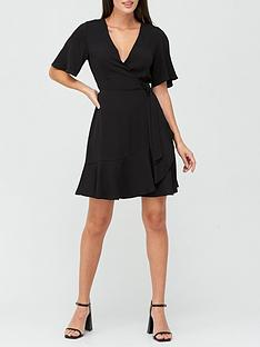 v-by-very-karina-ruffle-wrap-short-dress-black