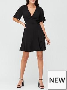 v-by-very-karina-ruffle-wrap-short-dress-black