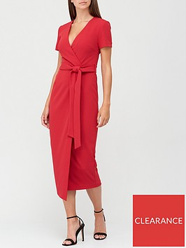 v-by-very-wrap-tie-midi-dress-red