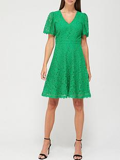 v-by-very-v-neck-lace-skater-dress-green