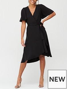 v-by-very-serena-ruffle-wrap-midi-dress-black
