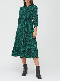 v-by-very-shirt-tiered-midi-dress-green-print