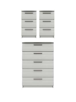Product photograph showing Taylor Ready Assembled 3 Piece Package - 5 Drawer Chest And 2 Bedside Chests