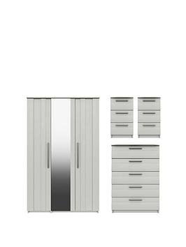 Product photograph showing Taylor Part Assembled 4 Piece Package - 3 Door Mirrored Wardrobe 5 Drawer Chest And 2 Bedside Chests