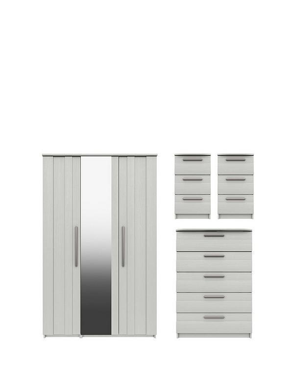 Taylor Part Assembled 4 Piece Package, Argos One Door Mirrored Wardrobe