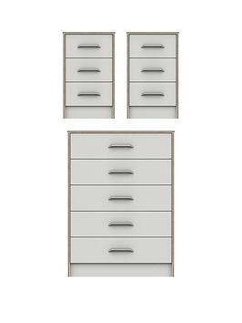 Product photograph showing Brianne Ready Assembled 3 Piece Package - 5 Drawer Chest And 2 Bedside Chests