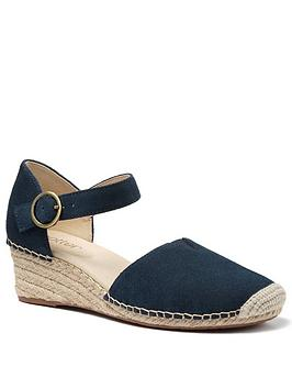 Hotter Pacific Ankle Strap Wedge Heeled Sandals - Navy