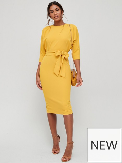 v-by-very-rosa-kimono-sleeve-fitted-dress-ochre-yellow
