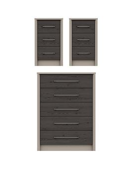 Product photograph showing Smyth 3 Piece Ready Assembled Package - 5 Drawer Chest And 2 Bedside Chests