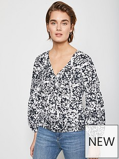 mint-velvet-pepper-print-volume-sleeve-top-blue
