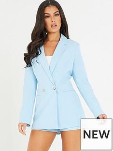 quiz-wovennbspdouble-breastednbspsuit-jacket-pale-blue