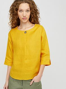 monsoon-scarlet-pure-linen-t-shirt-yellow