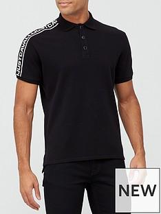just-cavalli-tape-detail-polo-shirt-black