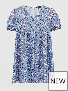 missguided-missguidednbspfloral-v-neck-puff-sleeve-smock-dress-blue