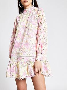 river-island-high-neck-printed-broderie-dress-multi