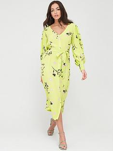 river-island-floral-wrap-front-midi-dress-lime