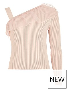 river-island-girls-frill-one-shoulder-knitted-top-pink