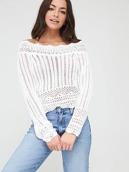 river-island-crochet-bardot-top-white