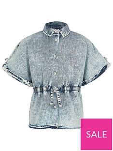 river-island-girls-denim-drawstring-shirt-blue