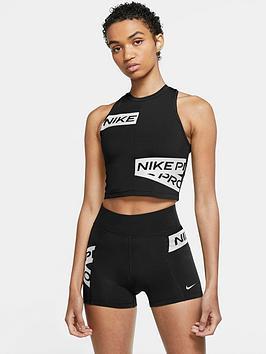 Nike Pro Training Trompe Crop Tank - Black